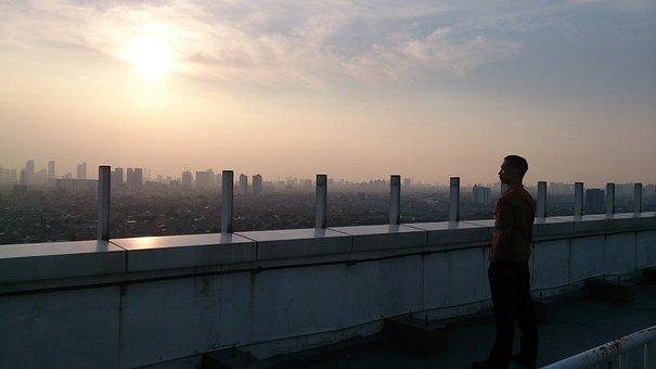 Twilight, Dusk, Sunset, Metro, City, Town, Lone