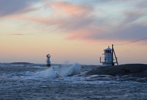Sea, Lighthouse, Storm, Waves, Water, Cloud, Himmel