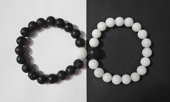Bracelet, Jin Jang, Yin-yang, Black, White, Mineral