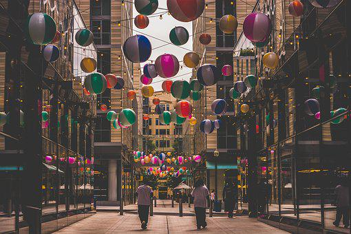 Balloons, City, Downtown, Young, Street, Outdoors