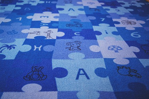 Blue, Puzzle, Carpet, Letters, Numbers, Children