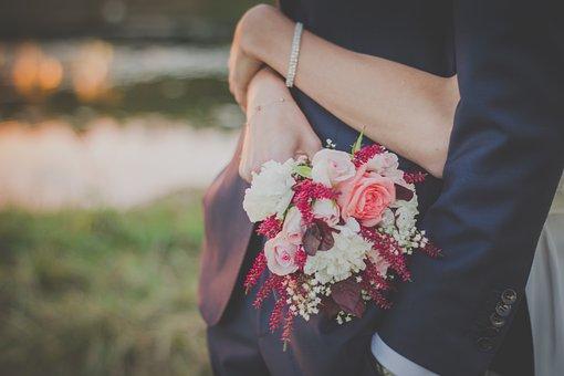 Bouquet, Flowers, Wedding, Bride, Groom, Man, Woman