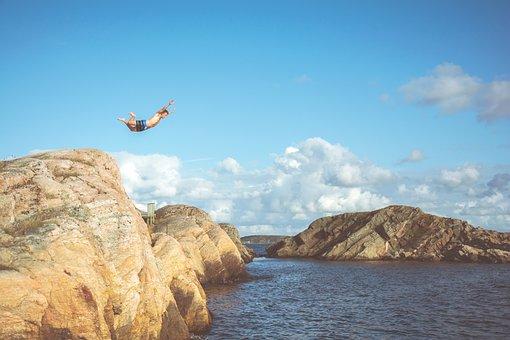 Guy, Man, Diving, Swimming, Rocks, Cliff, Summer