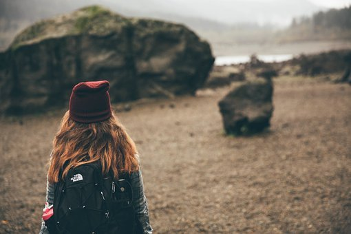 Girl, Woman, Long Hair, Hat, Backpack, Hiking, Trekking