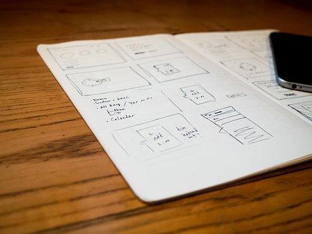 Design, Mockups, Sketch, Notebook, Notepad, Iphone