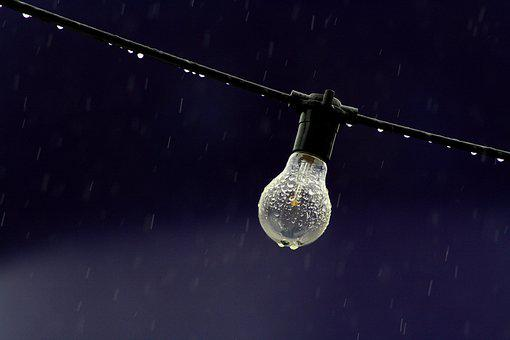 Electric, Light, Bulb, Wire, Rain, Raindrops, Water