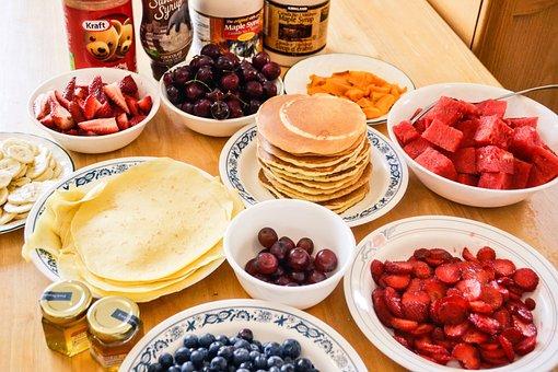 Pancakes, Breakfast, Morning, Strawberries, Grapes