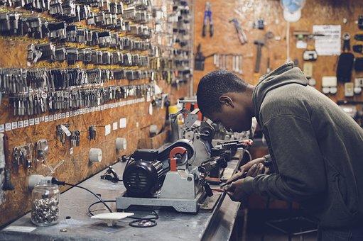 Guy, Man, People, Working, Keys, Equipment, Workshop