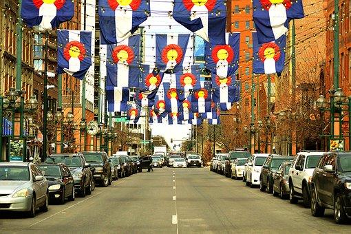 Larimer, Street, Road, Denver, Colorado, Flag, Above