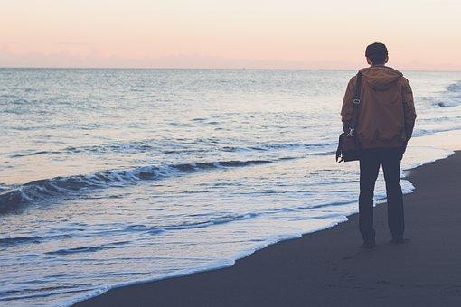 Guy, Man, People, Bag, Jacket, Beach, Sand, Shore
