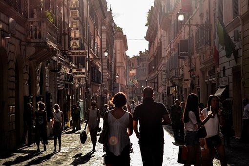 Man, Woman, People, Tourists, Walking, Walk, Alley