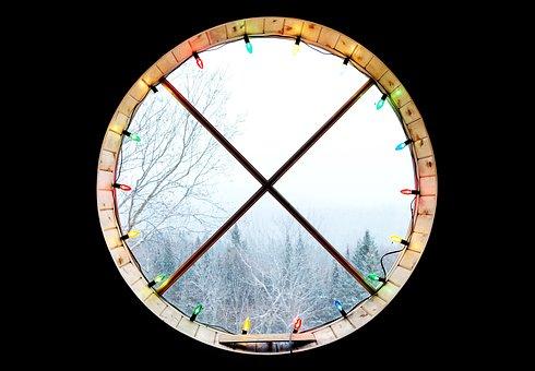 Window, Christmas Lights, String Lights, Winter, Trees