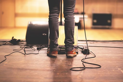 Music, Band, Stage, Wires, Microphone, Amps, Equipment