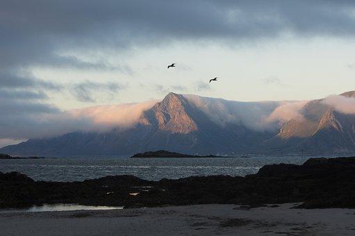 Lofoten, Beach, Clouds, Mountains, Hole, Water