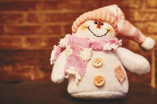 Snowman, Scarf, Hat, Buttons, Toy, Stuffed Animal