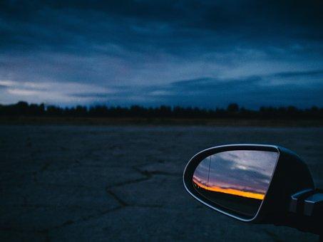 Sunset, Dusk, Night, Evening, Sky, Clouds, Mirror, Car