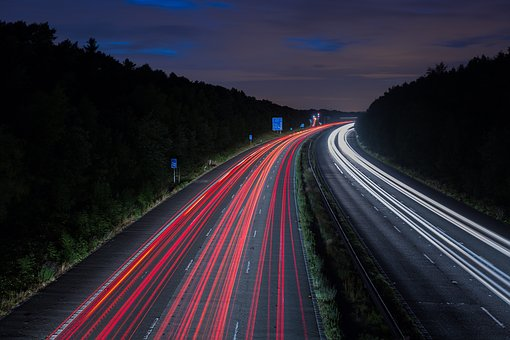 Highway, Road, Cars, Traffic, Lights, Night, Evening
