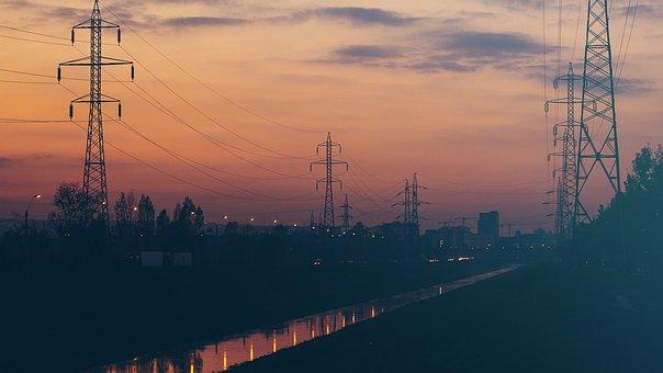 Sunset, Dusk, Power Lines, Sky, Clouds, City, River