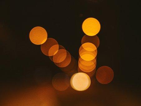Lights, Blurry, Abstract, Night, Dark