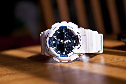 G-shock, Watch, White, Objects, Clock