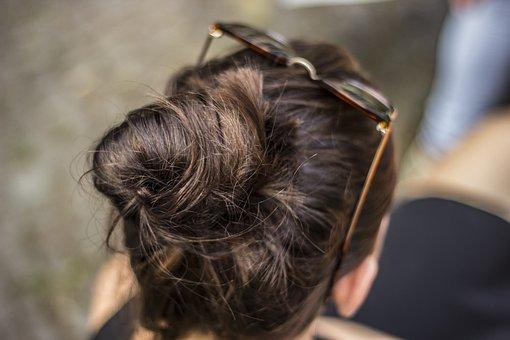 Brunette, Bun, Hair, Eyeglasses, Girl, Woman