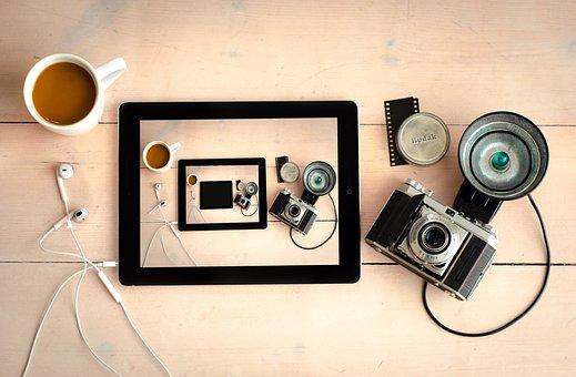 Camera, Flash, Lens, Photography, Film, Headphones