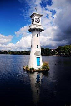 Lighthouse, Lake, Sky, Great, Landscape, Coast, Water