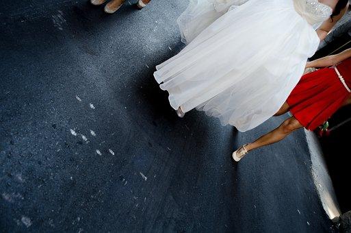 Bride, Dress, Wedding, Walking, Ground, Pavement