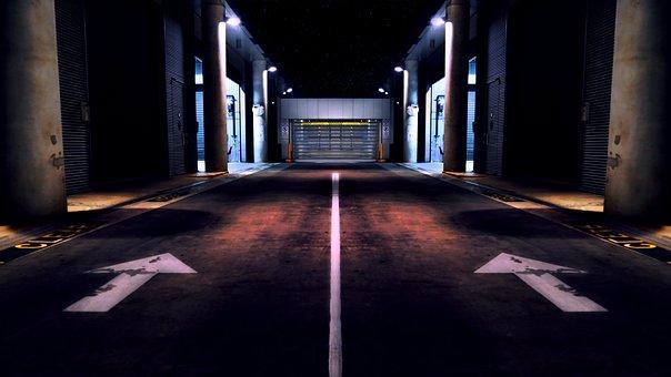 Street, Road, Arrows, Pavement, Warehouse, Garage