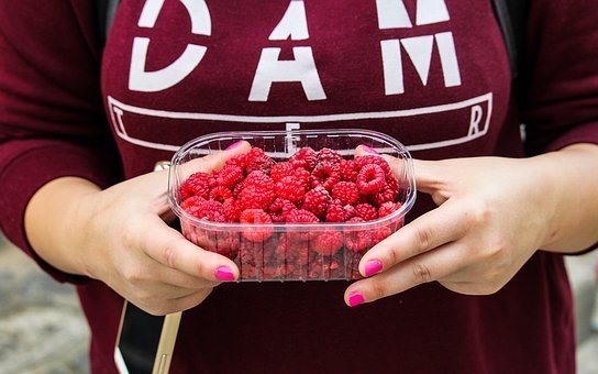 Raspberries, Fruits, Container, Hands, Food
