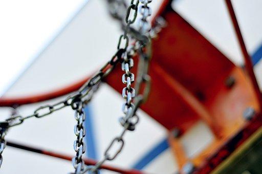 Basketball, Hoop, Rim, Chains, Court