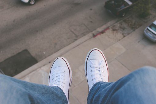 White, Shoes, Sneakers, Jeans, Aerial, View, Lifestyle