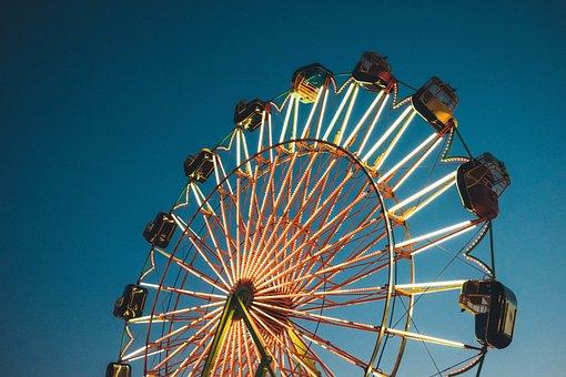 Ferris Wheel, Amusement Park, Fair, Ride, Sky, Night