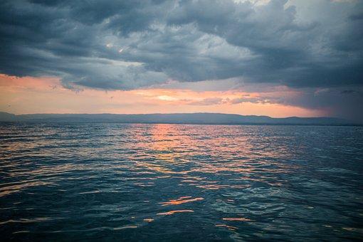 Sunset, Dusk, Sky, Clouds, Cloudy, Storm, Grey, Ocean
