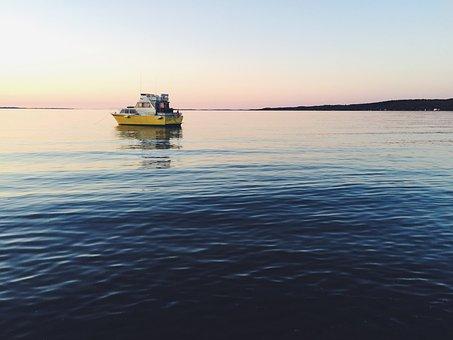 Boat, Ship, Ocean, Sea, Water, Coast, Horizon, Sunset