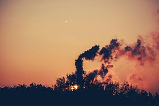 Surnrise, Dawn, Shadows, Silhouette, Smoke, Chimney