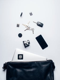 Leather, Bag, Laptop, Computer, Technology, Iphone