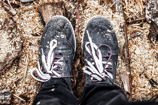 Shoes, Sneakers, Laces, Wood Chips
