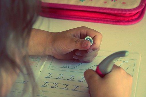 Child, Kid, Writing, Homework, Letters, School