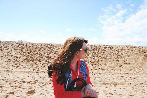 Girl, Beach, Sand, Sunglasses, Sunny, Long Hair
