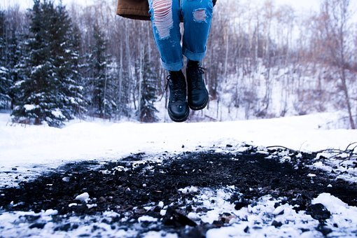 Jump, Jumping, Winter, Snow, Boots, Ripped Jeans, Denim