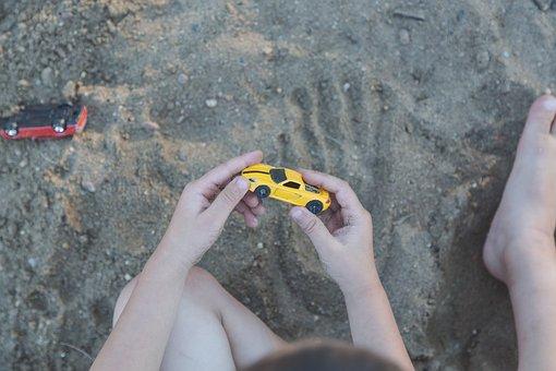 Playing, Sand, Kid, Car, Boy, Child, Outdoor Fun