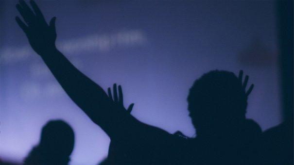 People, Silhouette, Hands Up, Crowd, Dark