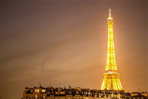 Eiffel Tower, Paris, France, Architecture, Lights, Dark