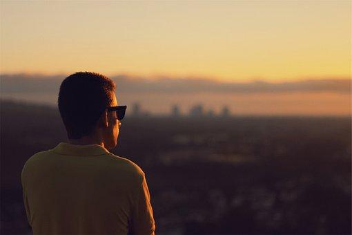 Guy, Man, Looking, Sunset, Sunglasses, Dusk