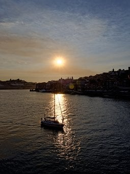 Porto, Douro, Sunset, Boot, Portugal, Old Town