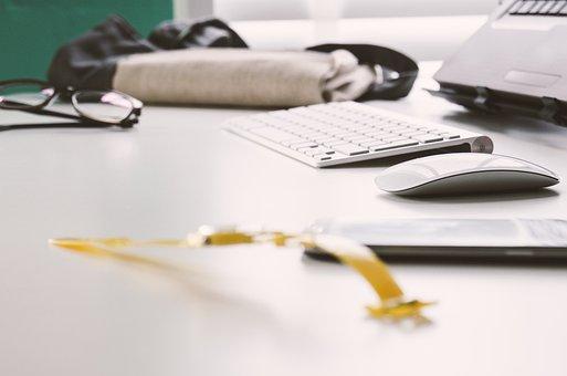 Desk, Office, Business, Keyboard, Mouse, Eyeglasses