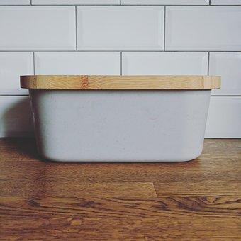 Bread Bin, Kitchen, Brick Tiles, Tiles, Worktop, Wood