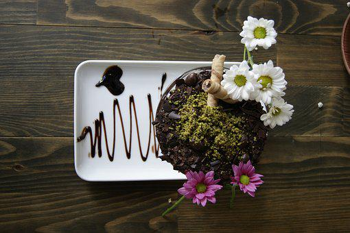 Flowers, Chocolate, Dessert, Delicious, Pastry