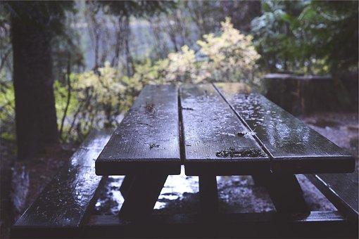 Picnic Table, Wood, Raining